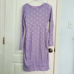 Lavender Maternity long sleeve dress lace